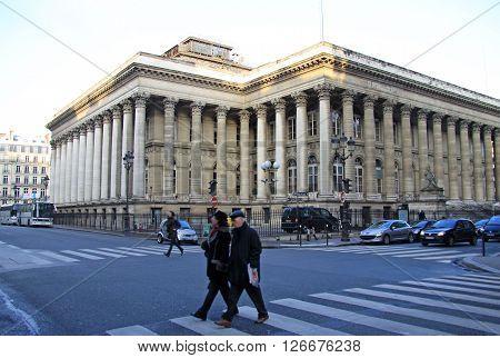 Paris, France - December 17, 2011: Palais Brongniart - The Paris Bourse That Is The Historical Paris