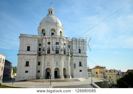 LISBON PORTUGAL - FEBRUARY 01 2016: The morning cleaning at the Church of Santa Engrácia known also as National Pantheon Lisbon Portugal