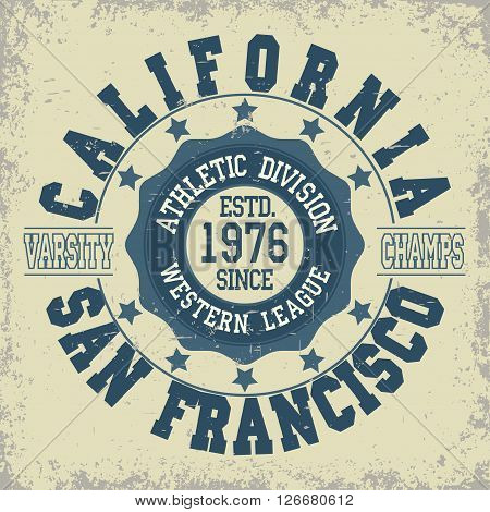 San Francisco Athletics typography stamp, California t-shirt stamp graphics, vintage sport wear tee print vector design