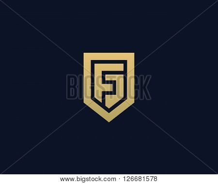 Abstract letter F shield logo design template. Premium nominal monogram business sign. Universal foundation vector icon