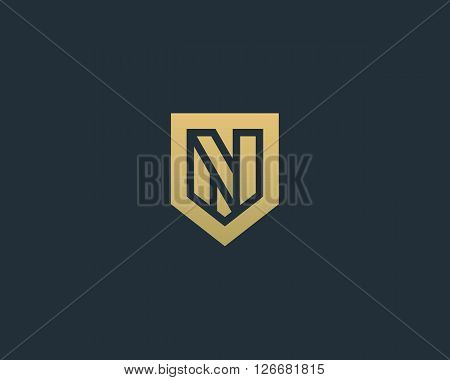 Abstract letter N shield logo design template. Premium nominal monogram business sign. Universal foundation vector icon