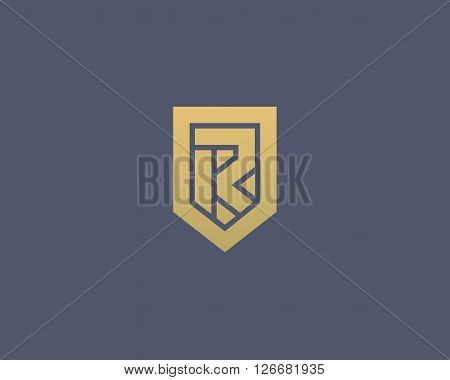 Abstract letter R shield logo design template. Premium nominal monogram business sign. Universal foundation vector icon