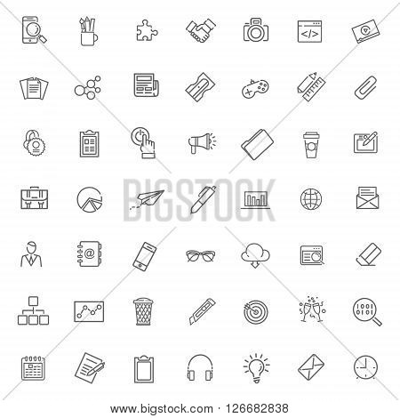 Thin outline icons set. Icons for business and digital marketing