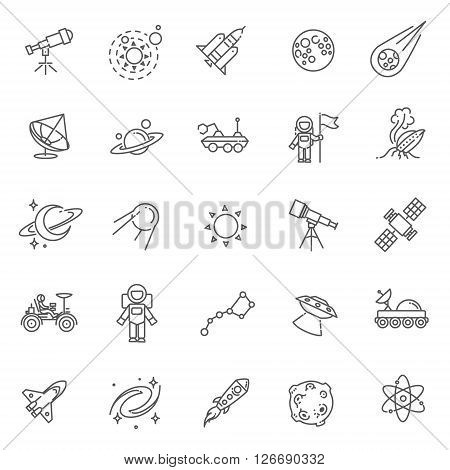 Collection space and astronomy icons. Vector illustration