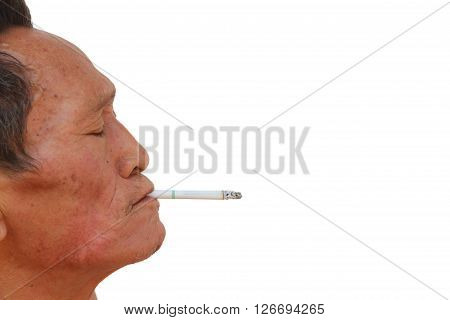 Asian old man smoking cigarette. Face filled with wrinkles. isolated on white background.