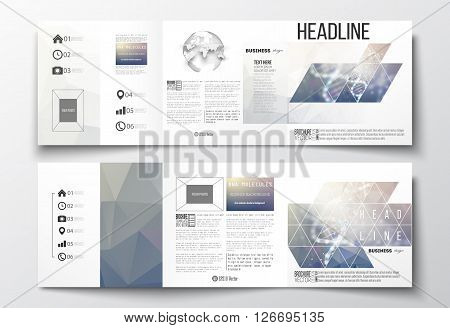 Vector set of tri-fold brochures, square design templates with element of world globe. DNA molecule structure on a blue background. Science vector background.