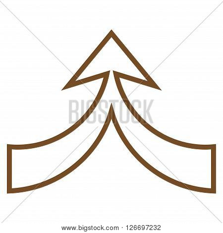 Unite Arrow Up vector icon. Style is stroke icon symbol, brown color, white background.