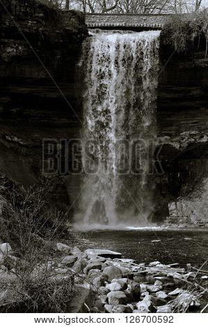 Minnehaha Falls in Minneapolis Minnesota during spring
