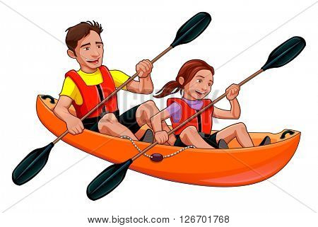 Father and daughter on the kayak. Vector isolated illustration