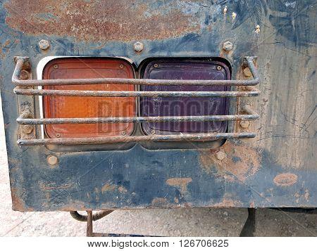 Vintage Truck Rear light rusty on taillight.
