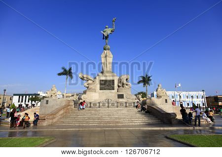 TRUJILLO PERU - AUGUST 3: Principal monumente in the Plaza de Armas in Trujillo at sunset in august 3 2012 in Trujillo Peru.