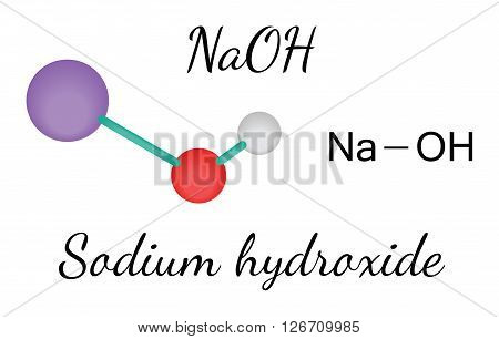 NaOH sodium hydroxide molecule isolated on white