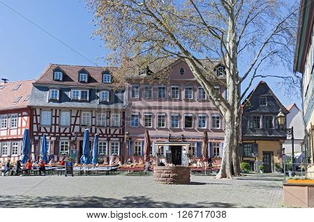 FRANKFURT, GERMANY - APRIL 20, 2016; restaurants on the historic Schlossplatz in Frankfurt-Hoechst