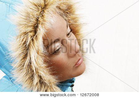 Blue Furry Hood