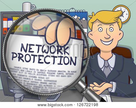 Network Protection through Magnifying Glass. Office man Showing Concept on Paper. Closeup View. Colored Doodle Style Illustration.