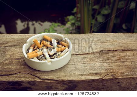 cigarette stub in ashtray image no smoking concept background poster