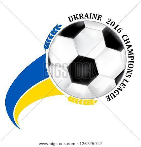 Ukraine 2016 football team sign, containing a soccer ball and the Ukrainian flag