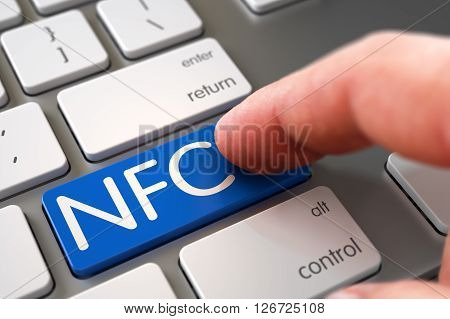 NFC Concept - Modern Keyboard with NFC Keypad. Hand Finger Press NFC Keypad. Selective Focus on the NFC Keypad. Hand Pushing NFC Blue Metallic Keyboard Keypad. 3D Render.