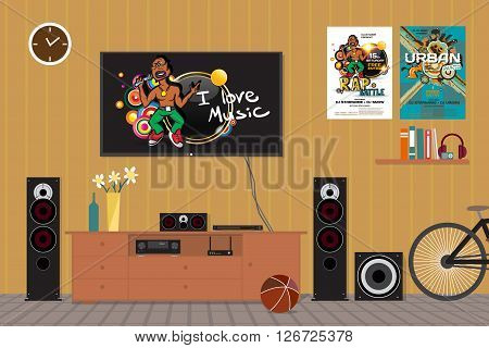 Home cinema system in interior room with bike. Home theater flat vector illustration. TV, floor loudspeakers, player, receiver, subwoofer for home movie theater and music in the apartment