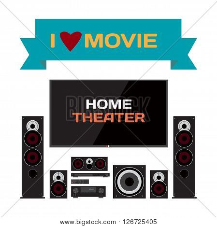 Home cinema system. Home theater flat vector illustration for music lovers and film fans. TV, loudspeakers, player, receiver, subwoofer for home movie theater and music