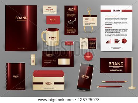 Corporate identity template. Branding design with logo.  Letter envelope, card, catalog, pen, pencil, badge, paper cup, smartphone, letterhead, calendar