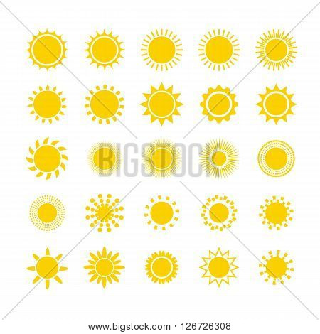 Sun icon set, vector illustration.  Set of vector silhouettes in the form of sun. Flat design sun icon