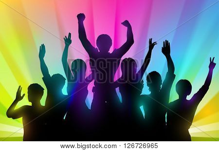 Silhouettes of happy people on color background
