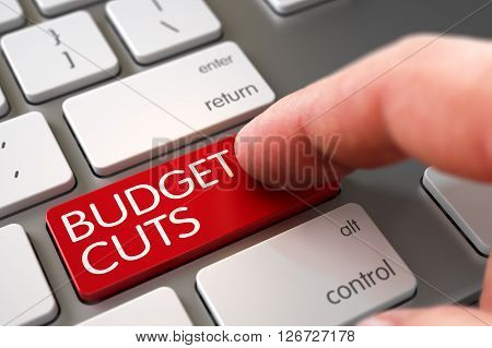 Budget Cuts Concept - Modern Laptop Keyboard with Key. Hand using Modernized Keyboard with Budget Cuts Red Button, Finger, Laptop. Budget Cuts - Computer Keyboard Keypad. 3D.