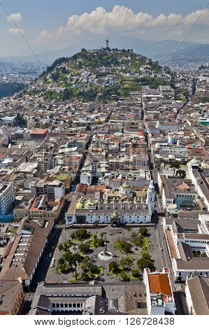 Aerial view of the colonial town of Quito large or Independence Square in the foreground and El Panecillo behind