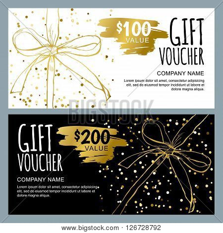 Vector Gift Voucher Template With Golden Hand Drawn Bow Ribbons.