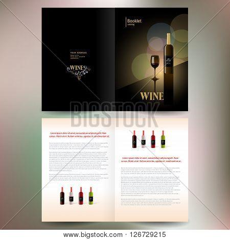 booklet catalog brochure folder wine red vine bokeh gold black background