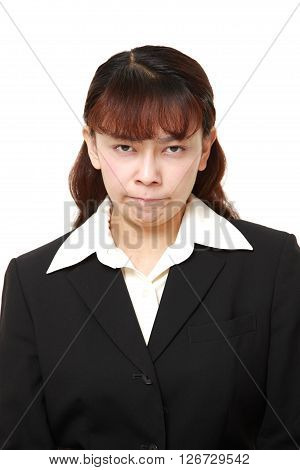 studio shot of angry businesswoman  on white background