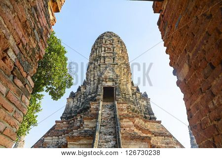 the ancient pagoda in Chai Wattanaram temple in Ayuthaya historical park with the sun set light