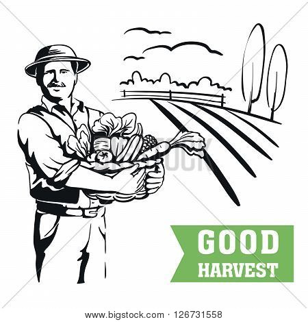 farmer standing with a basket of fresh vegetables