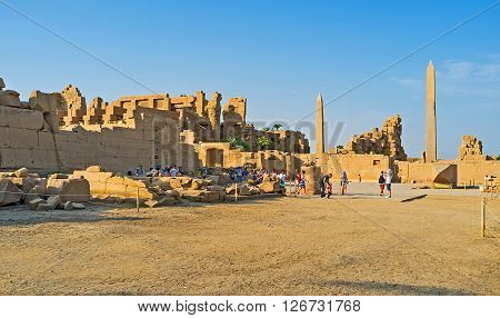 LUXOR EGYPT - OCTOBER 7 2014: The Karnak Temple complex is one of the largest and most interesting archaeological sites in country on October 7 in Luxor.