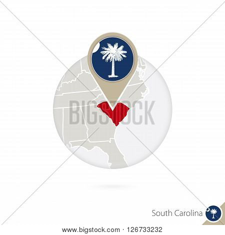 South Carolina Us State Map And Flag In Circle. Map Of South Carolina, South Carolina Flag Pin. Map