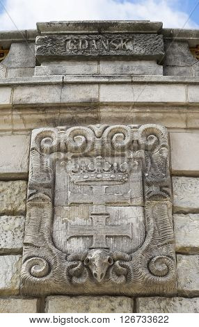 Coat of arms of Gdansk on the wall fountain in Szczecin. Poland