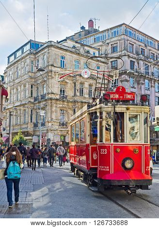 ISTANBUL TURKEY - JANUARY 22 2015: The Tunel is the last tram station in Independence Avenue here the tram change direction and ride back to Taksim Square on January 22 in Istanbul.