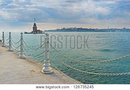 poster of The Maiden's Tower is the former lighthouse and also one of the notable landmarks that can be seen from the Uskudar embankment Istanbul Turkey.