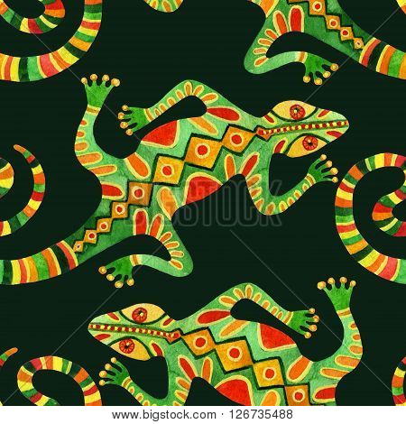 Watercolor seamless pattern with lizards. Ornated lizards in ethnic style. Hand painted illustration