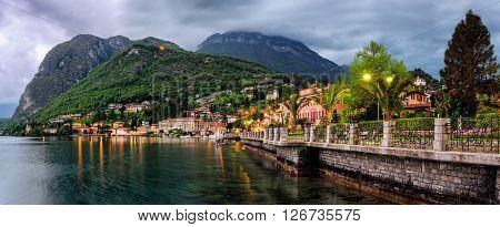 Lago di Como (Lake Como) Menaggio at dusk ** Note: Soft Focus at 100%, best at smaller sizes