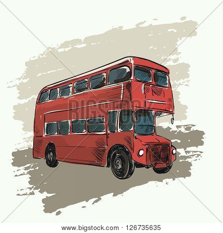 classic red double decker bus on abstract background
