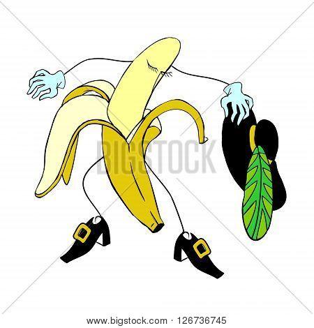Banana musketeer. Colored vector illustration. Banana musketeer.