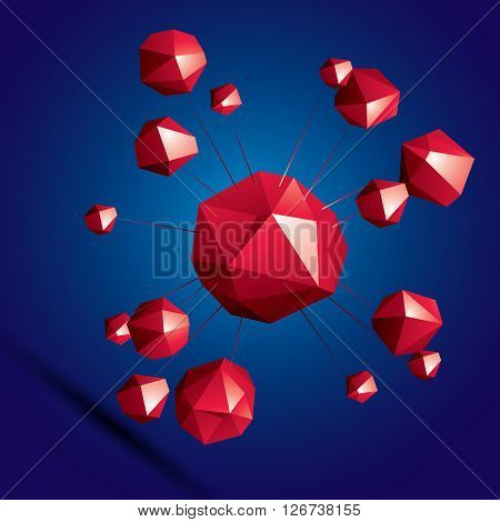 Vector Digital 3D Abstraction, Geometric Polygonal Element. Spatial Technological Colorful Shape, Th