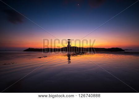 Light house with twilight sky, nature and landscape scene.