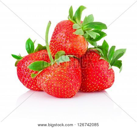 Ripe strawberries isolated on a white background