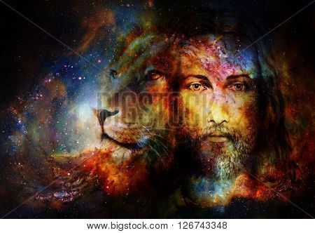 painting of Jesus with a lion in cosimc space, eye contact and lion profile portrait