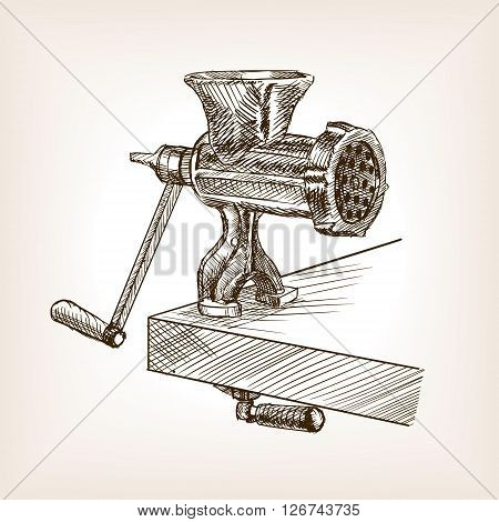 Meat Grinder Sketch Style Vector Ilration Old Hand Drawn Engraving Imitation