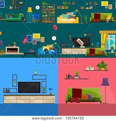 Furniture Shop Super Sale Vector Illustration. Sale in furniture shop. Sale labels on furniture in store. Furniture shop sale. Set furniture for sale. Tag sale on furniture interior