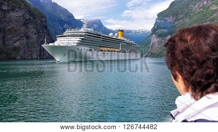 Famous Geiranger fjord with cruise in Norway
